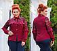 """Женская нарядная блуза в больших размерах 0459 """"Софт Рукава Кокетка Гипюр Рюши"""" в расцветках, фото 3"""