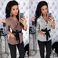 Костюм женский деловой брючный стильный, удлиненный пиджак под пояс, повседневный, офисный, нарядный, фото 1