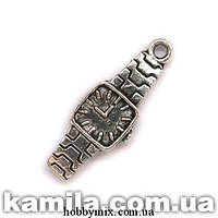 """Метал. подвеска """"часы"""" серебро (0,7х2,2 см) 8 шт в уп."""