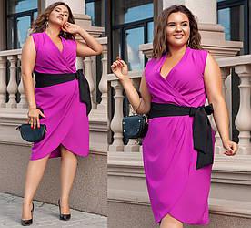 Платье больших размеров от 48 до 54 на запах / 2 цвета  352-39