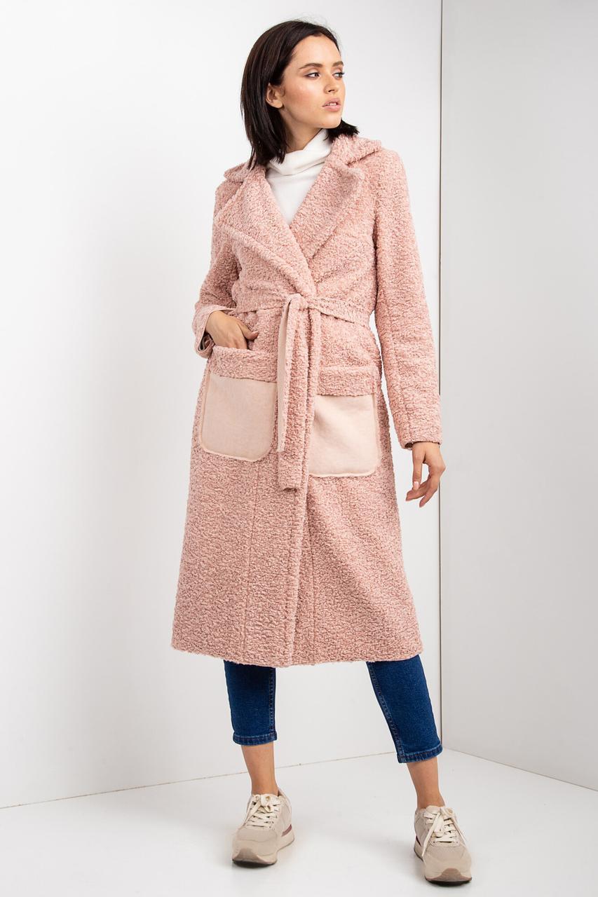 Осеннее пальто HELENA без пуговиц из каракуля в пастельной гамме