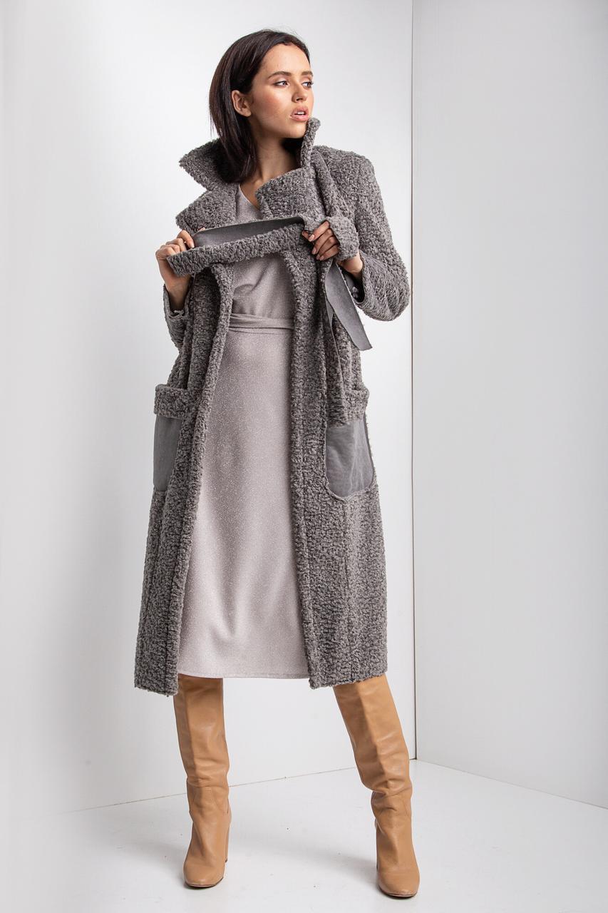 Осеннее меховое пальто HELENA на запАх из серого каракуля