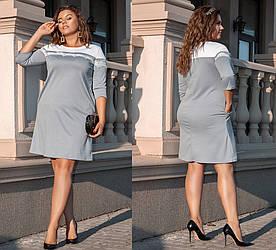 Платье больших размеров от 48 до 54 рукав три четверти, с карманами, отделка кружево / 3 цвета  354-39