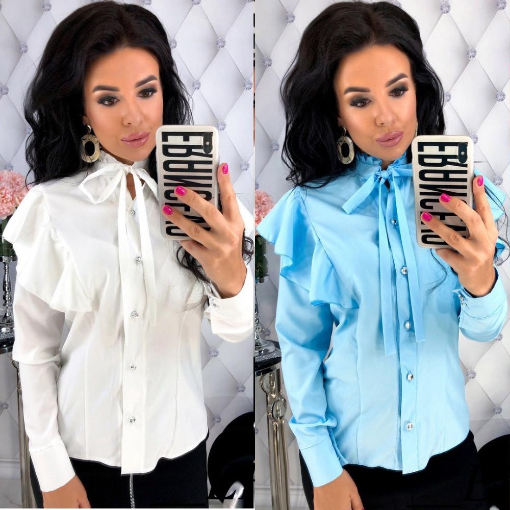 Блуза женская классическая с рюшами, длинный рукав, нарядная, с рюшами, офисная, повседневная, фото 1