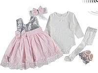 Платье, Нарядный набор 5 пр для девочки, крестильный набор