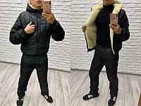 Зимний костюм мужской черный камуфляж №1215 рус, фото 1