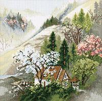 Набор для вышивки крестом Уютный домик у горного ручья