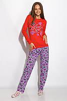Пижама женская с длинным рукавом Красная