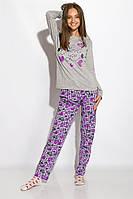 Пижама женская с длинным рукавом Светло-серая