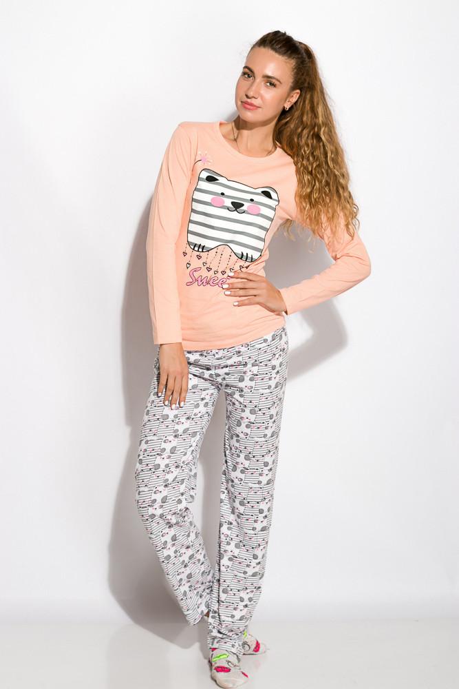 Пижама женская Розовая с длинным рукавом