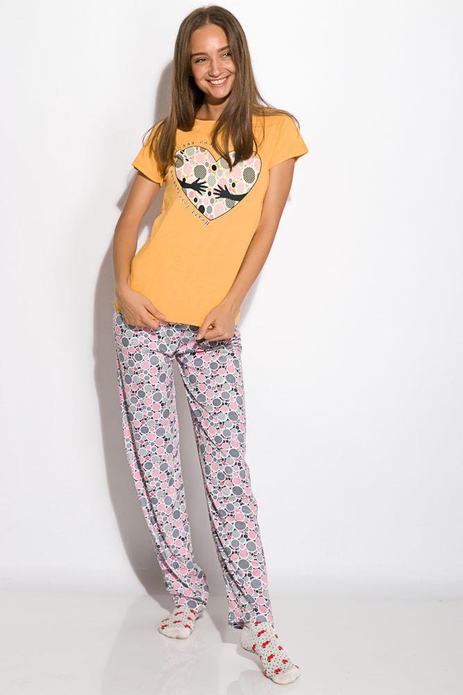 Пижама женская с коротким рукавом Желтая