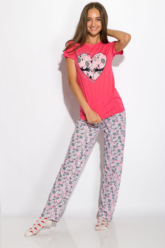 Пижама женская с коротким рукавом Малиновая