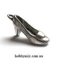 "Метал. подвеска ""туфелька"" 3D серебро (0,7х2,1 см) 8 шт в уп."