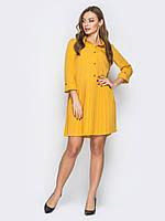 Желтое платье свободного кроя с плиссированной юбкой 44 46 48