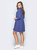 Синее платье свободного кроя с плиссированной юбкой 44 46 48