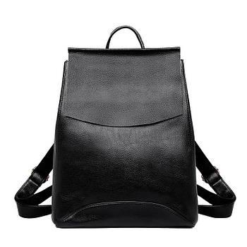 Рюкзак міський жіночий шкіряний з клапаном (чорний)