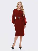 Красное стильное платье-миди 52 54 56 58