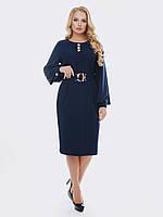 Синее Стильное платье-миди 52 54 56 58