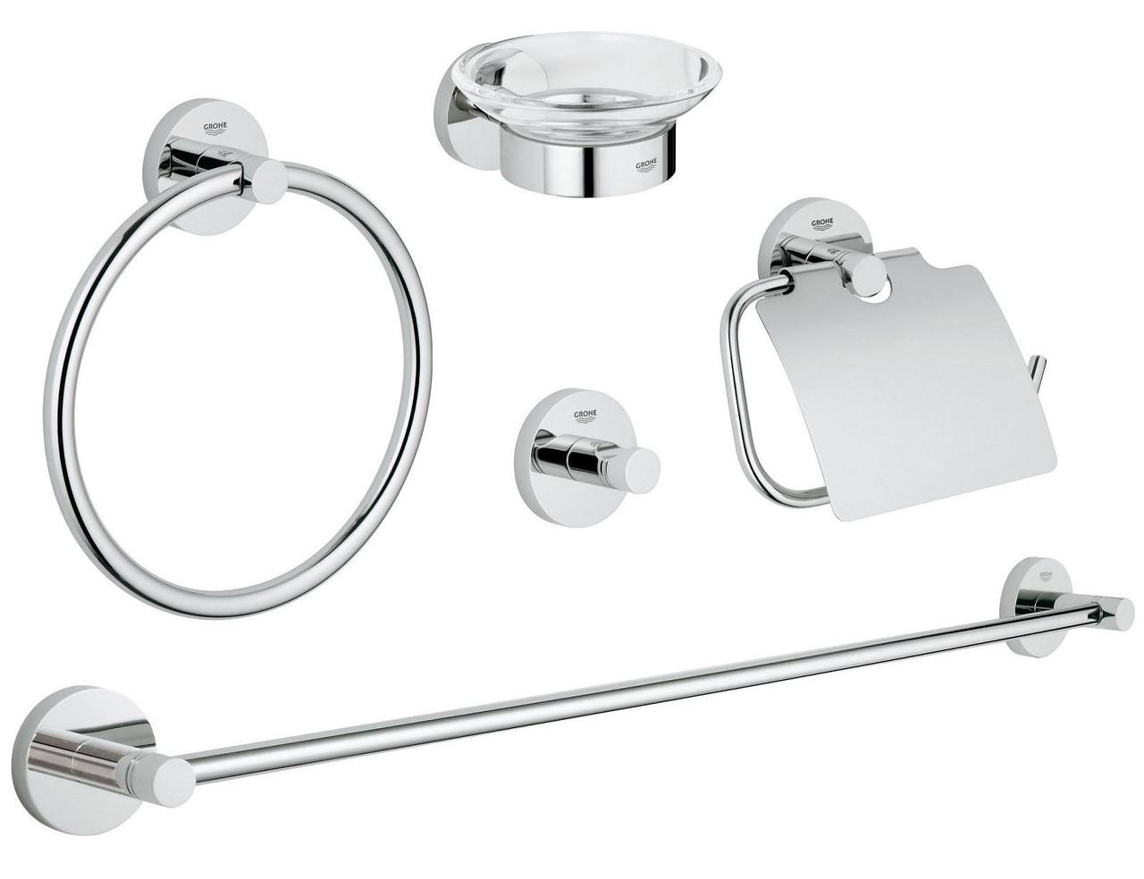 Essentials Набор аксессуаров для ванной комнаты, цвет хром