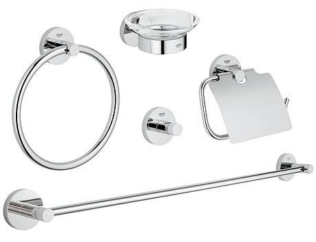 Essentials Набор аксессуаров для ванной комнаты, цвет хром, фото 2