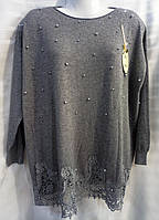 Свитер/ туника с ажурным низом кашемировый женский батальный (ПОШТУЧНО), фото 1