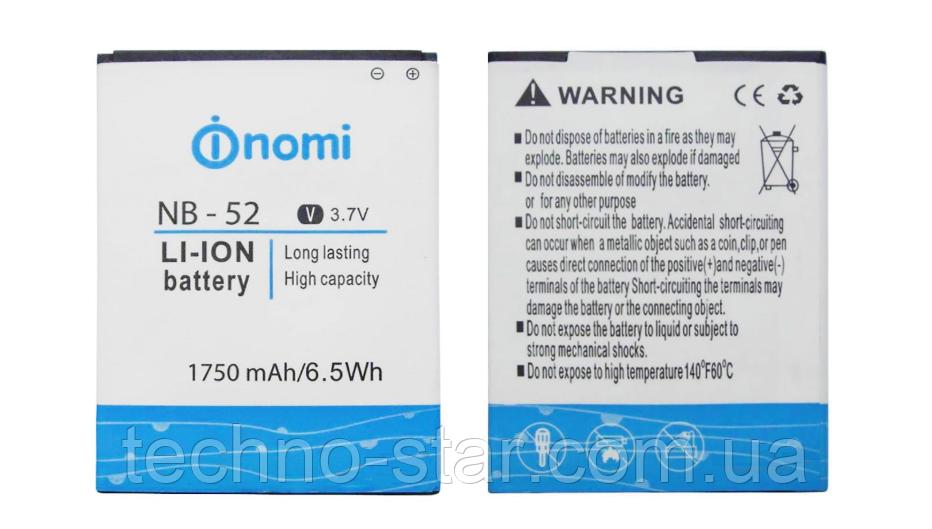 Оригинальный аккумулятор ( АКБ / батарея ) NB-52 для Nomi i501 Style 1750mAh