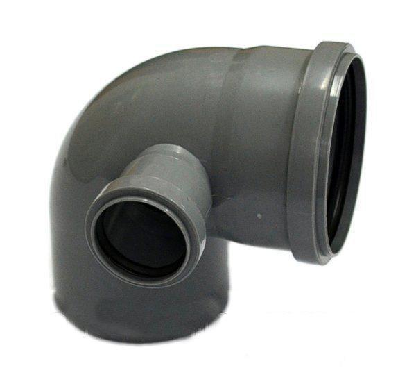 Коліно для внутрішньої каналізації правий висновок Інсталпласт 110/50/90 (сіре)