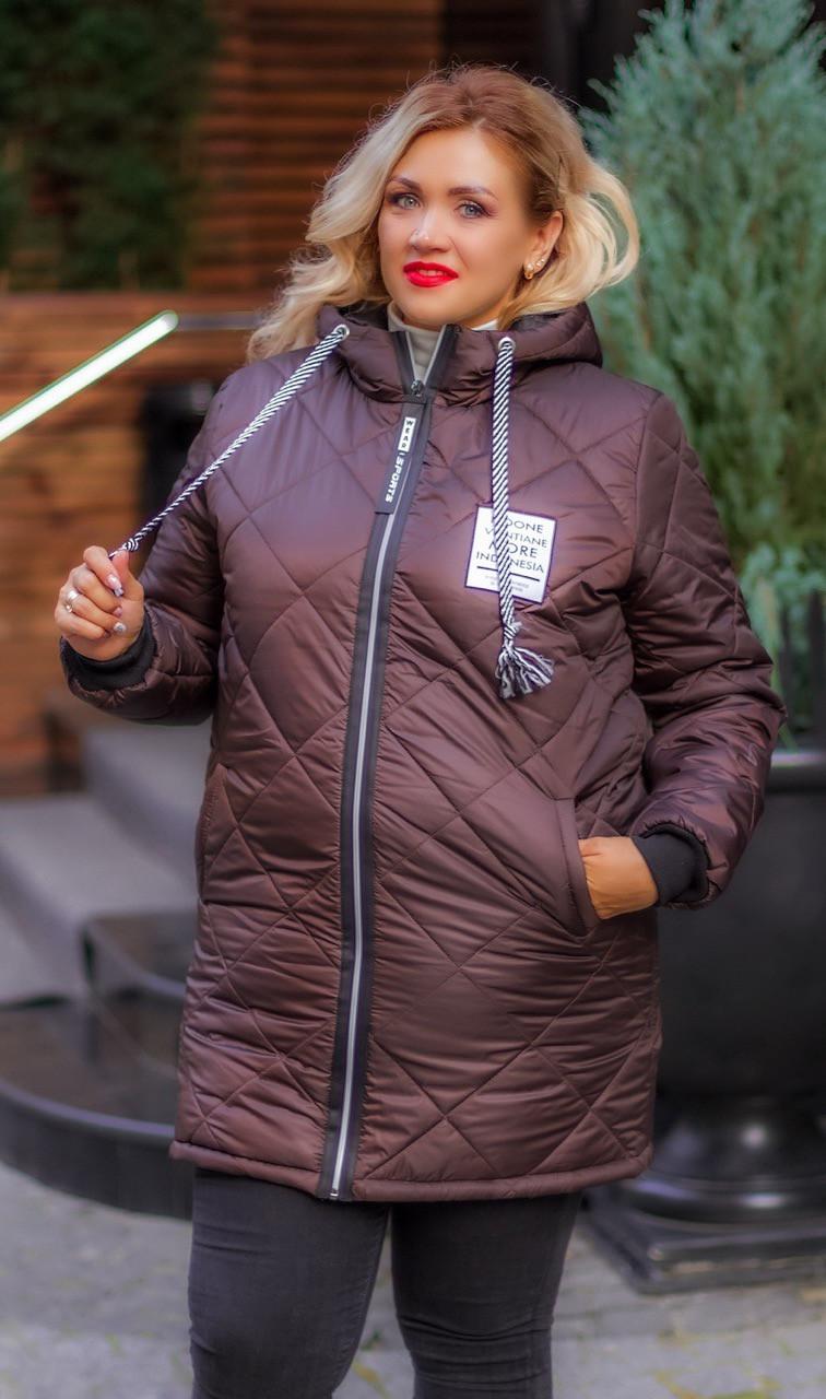 Зимова куртка жіноча Стьобаний плащівка на синтепоні Розмір 44 46 48 50 52 54 56 58 60 62 В наявності 7 кольорів