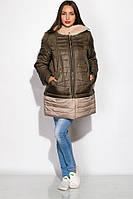 Женская куртка двухцветная с меховым капюшоном, фото 1