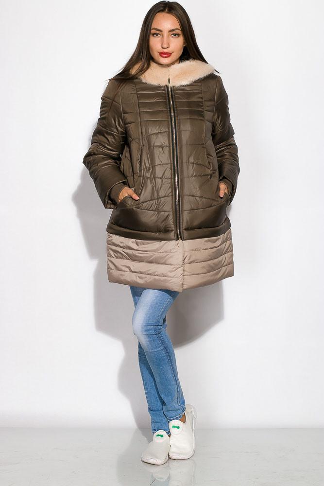 Женская куртка двухцветная с меховым капюшоном