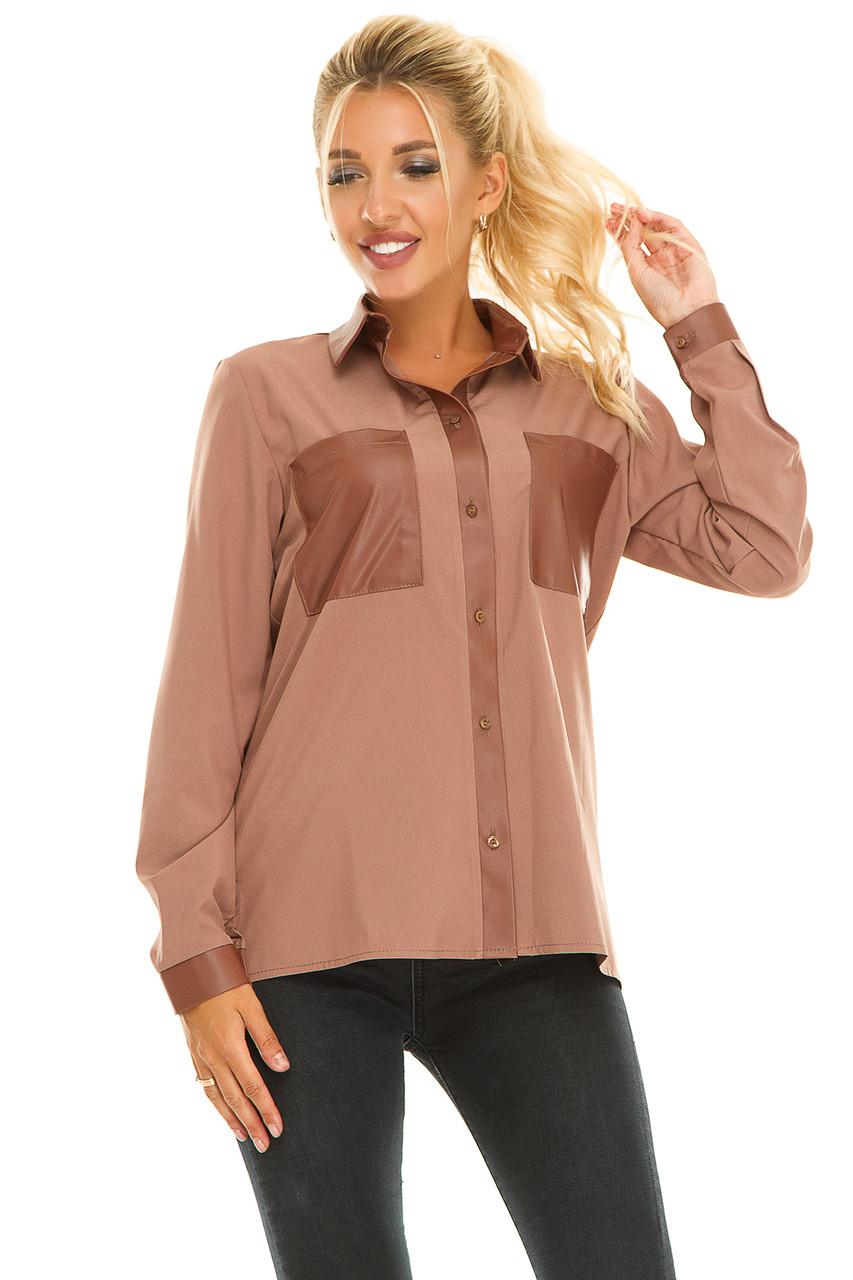 Рубашка 617 бежевая размер 48