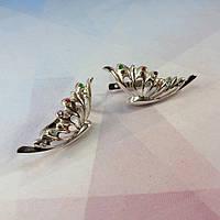 Серебряные серьги Крылья Бабочки (Феникс) с камнями