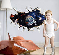 """Наклейка на стену, виниловые наклейки в детский сад """"дыра в космос - космонавт"""" (лист 60см*90см)"""