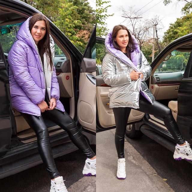 Зимова куртка зефирка двостороння фото