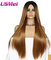 Парик длинные прямые волосы омбре