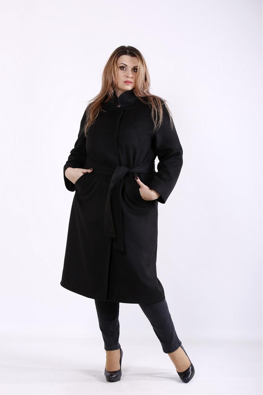 Удобное элегантное черное пальто женское из кашемира большого размера 42-74. T01268-2