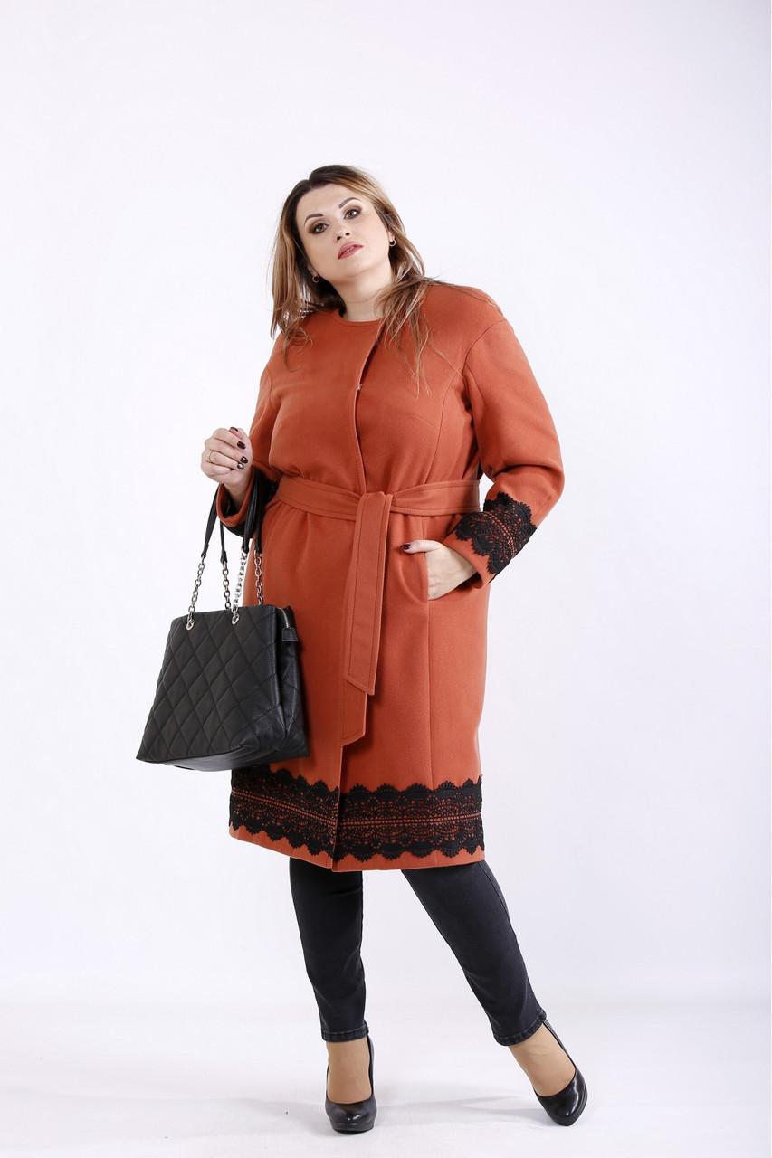 Терракотовое пальто с кружевными вставками большой размер 42-74. T01269-1