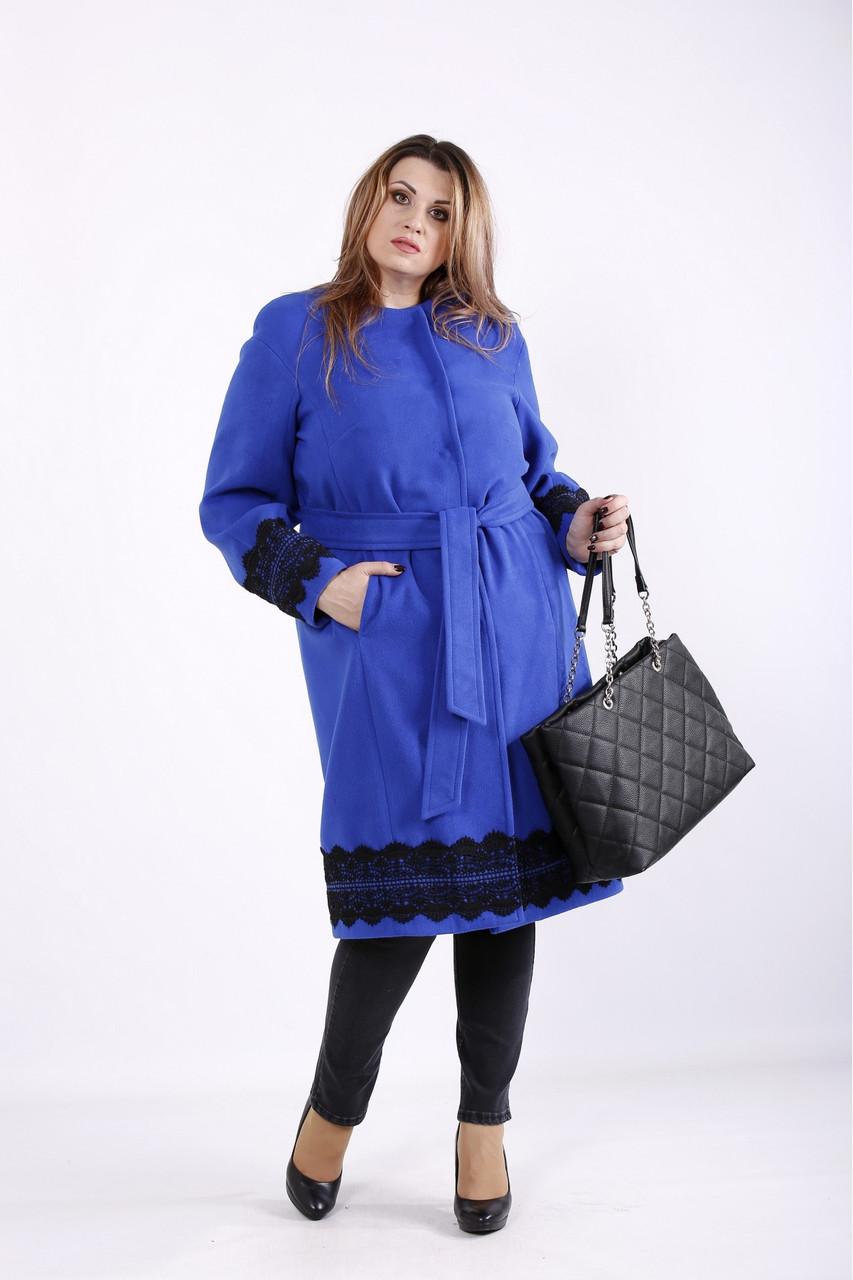 Синє кашемірове пальто жіноче осіннє великого розміру 42-74. T01269-2