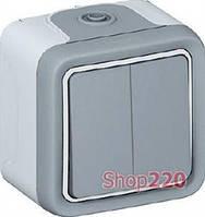Проходной выключатель IP55 накладной 2-клавишный, серый 69715 Legrand