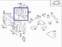 Шумоизоляция передней панели Mercedes ML W164, 2007 г.в. A1646820004