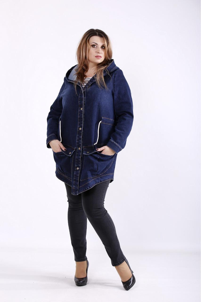 Темно-синя довга джинсова куртка жіноча з капюшоном великий розмір 42-74. J01262-1
