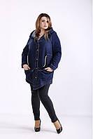 J01262-1 | Темно-синяя длинная джинсовая куртка с капюшоном большой размер