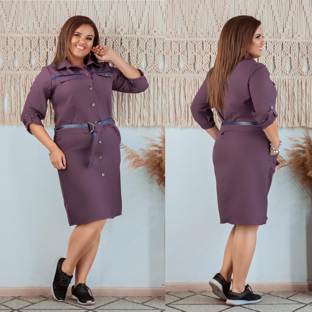 Платье-рубашка больших размеров от 50 до 56  с поясом / 5 цветов 377-300