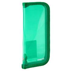 Пенал объемный на молнии, прозрачный зеленый