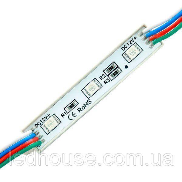 Светодиодный модуль 5050-3 led W 0.72W RGB, 12В, IP65