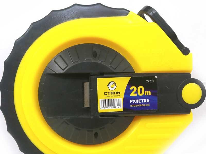 Рулетка со фиберглассовым полотном 22701 Сталь (20м)