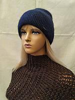 Молодежная шапка из ангоры Вернон 34127  ODYSSEY индиго
