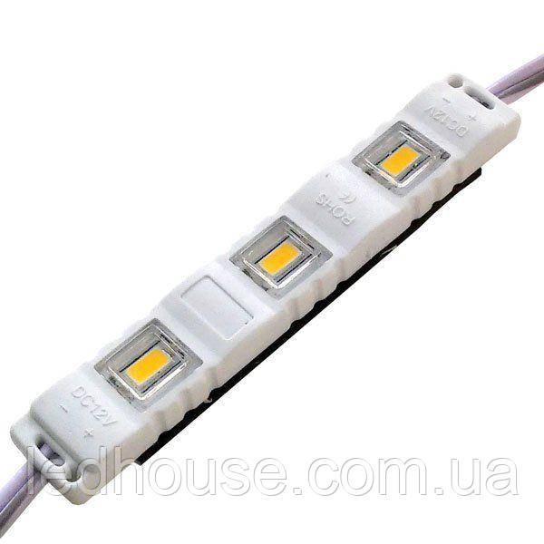 Светодиодный модуль 5630-3 led W 1,5W 6500K, 12В, IP65 белый закрытый с линзой
