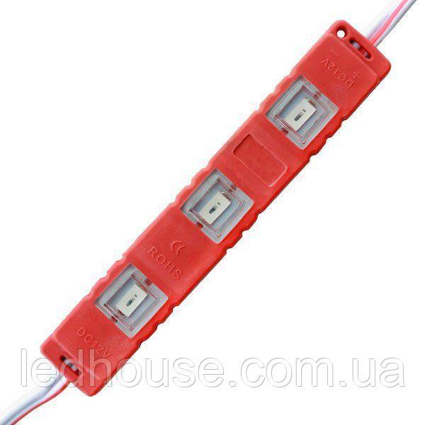 Светодиодный модуль 5630-3 led R 1,2W, 12В, IP65 красный закрытый с линзой