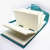 Кожаный блокнот COMFY STRAP А5 женский бирюза ручная работа, фото 6